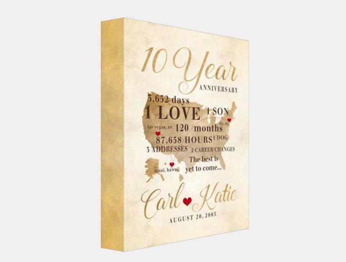 Tenth Year Wedding Anniversary Gift: 10 Year Anniversary Gift, Gift For Men, Women, His, Hers