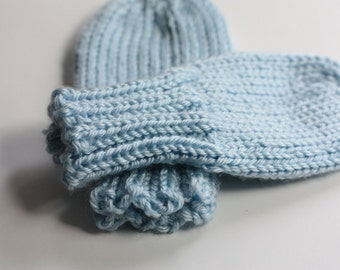 Baby Mittens Blue, Soft Blue Thumbless Mittens, Light Blue Scratch Mittens, Baby Blue Knit Mittens for Toddlers, Mittens 6-12, 12-18, 18-24