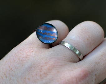 mod striped ring - size US 6 3/4 - enamel and copper