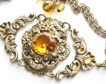 Amber Topaz Glass Jewel Bracelet Floral Detail Antiqued Brass Ox Bracelet- Morning Glory Designs