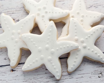 Starfish Cookies, Beach Wedding Cookies, Decorated Cookies, Custom Cookies, Party Favors, Wedding Favors, Starfish Favors, Starfish Shower