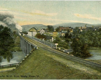 Woodville New Hampshire from Wells River Vermont Vintage Postcard circa 1910 (unused)