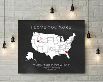 Long Distance Relationship Boyfriend | Chalkboard Map Print | Engagement Gift | Travel Map | Personalized Map | Canvas Print  - 55377