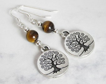 Tree of Life Earrings, Tigers Eye and Sterling Silver Beads, Sterling Silver Earwires - Spiritual, Metaphysical