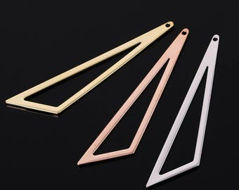 4PCS Triangle charm/pendant/necklace/findings/connector,gold/rose gold/silver plating over brass triangle charm/earrings