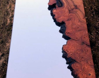 Natural-edged wooden mirror