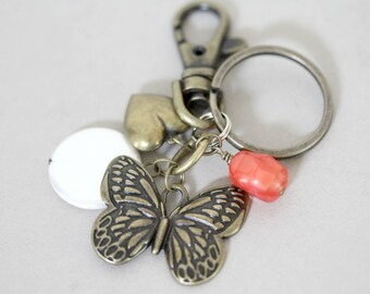 Antiqued Brass Butterfly and Heart Key Chain, Charm Key Ring, Butterfly Key Ring, Vintage Inspired Key Ring, Purse Charms, Orange Key Ring