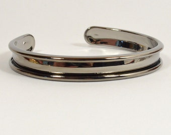 5mm Leather Inset Cuff - Gunmetal - Choose Your Quantity