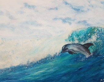 Watercolor painting Sea Dolphin wall art original dolphin painting sea watercolour art turquoise nursery decor kids room decor dolphin art