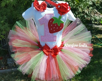 Strawberry Tutu, Strawberry Birthday Tutu, Birthday Strawberry Tutu Set, Strawberry  Tutu Outfit, Strawberry Tutu Set, Strawberry Outfit