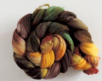 merino nylon,Autumn Leaves, Sock blend top,handpainted fiber for spinning,ca.3,5oz