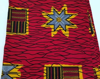 Red And Yellow Ankara Fabric; African Clothing; African Fabric in yard; African Headwrap;Ankara; African Fabric, African Print Fabric