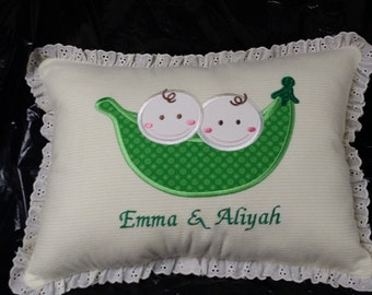 Two Peas in a Pod Baby Pillow