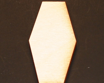 Unfinished Wood Hexagon Elongated - 1-1/2 inches tall by 1 inch wide and 1/8 inch thick wooden shape (HEXG09)