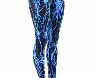 Neon Blue Lightning Print UV Glow High Waist  Leggings for Neon Run or Yoga  152231