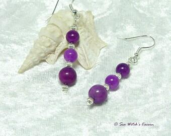 Purple Jade Earrings with Sterling Silver, Earring Gift Idea, Dangly Earrings, Jade Jewellery, Purple Earrings, A0291