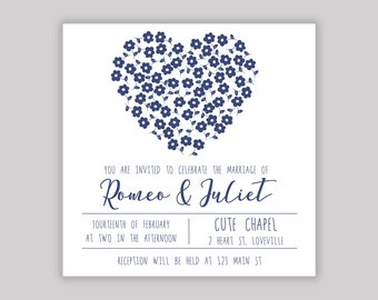 Wedding Invitation - Heart of Daisies (Digital File only)