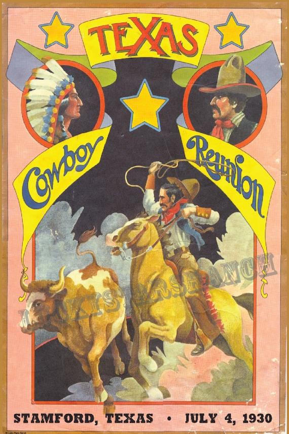 Cowboy Rodeo Poster Texas Cowboy Reunion 1930 Vintage Poster
