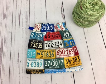 License Plates, Yarn Ball bag, Yarn Bowl, Yarn Holder, Yarn Cozy