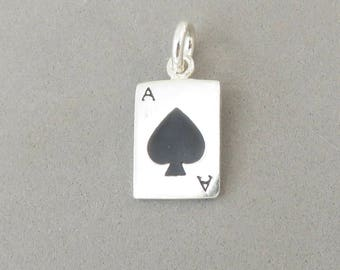 Enamel ACE Of SPADES .925 Sterling Silver Charm Pendant Black Deck Playing Cards Gambling Gaming Poker Las Vegas New hb45