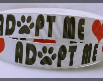 """Adopt Me White Red Heart Love Dog Cat Paw Print Heart Grosgrain Ribbon 7/8 """" WIDE  AM4917"""