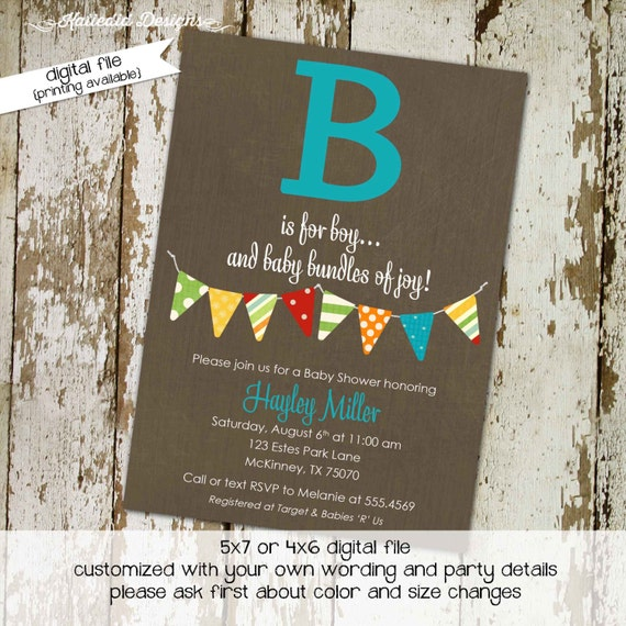 rustic baby boy shower invitation b is for baby invite Kraft paper rustic chic bunting banner diaper wipe brunch twins 1268 Katiedid Designs