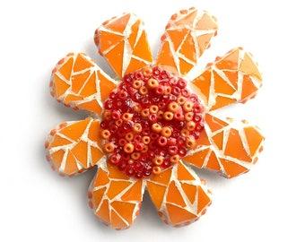 Mosaic Flower Magnet, Mosaic Orange Flower Magnet, Orange Daisy Magnet, Handmade Mosaic Magnet, Flower Magnet, Kitchen Orange Flower Magnet