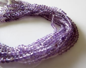3mm Natural Amethyst Rondelle Beads, Multi Color Shaded Faceted Amethyst Rondelle, 14 Inch Strand, GFJ509