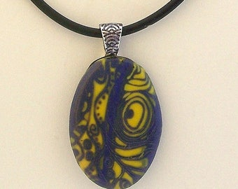 Purple and Yellow Patterned Polymer Clay Pendant and Earring Set by Carol Wilson of PollyClayDesigns