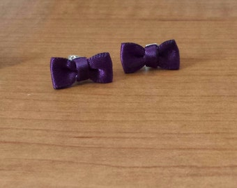 Purple Eggplant Ribbon Bow Earrings
