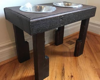 """Reclaimed rustic pallet furniture dog bowl stand mahogany finish 24""""l X 12""""w X 16""""t large dogs large 3qt bowls included"""