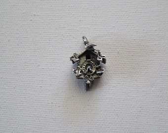 Vintage Beau Sterling Silver Cuckoo Clock Movable Charm, Pendant