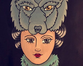 Wolf Girl Painting