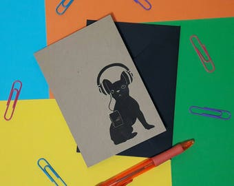 French bull dog blank card | Frenchie note card | Frenchie Stationery | Frenchie in headphones | Frenchie card