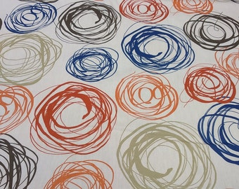 Curtain panel white red orange brown green blue rounds Modern Scandinavian Decor Cafe curtain Kitchen valance , table linen , great GIFT