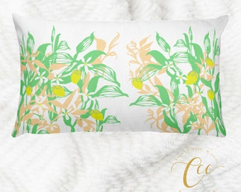 Lemon Plant Floral Fruit Cushion Pillow Cover, Green Yellow White Throw Decorative Garden Home Decor Cushion Pillow Cover, by Calm Cozy Chic