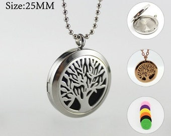1PC 25/30MM Tree of life  locket Diffuser Necklace Stainless Steel Essential Oil Diffuser Necklace Aromatherapy Pendant Diffuser Locket