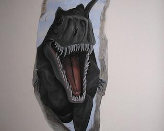 Velociraptor Breaking Thru the Wall by Keely M. VanDuzee