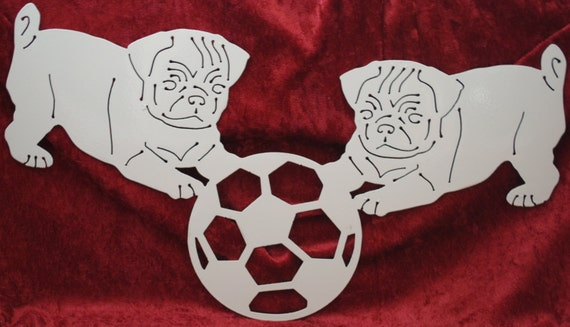 Pugs Playing with a Soccer Ball, Pugs, Dogs, Pets, Soccer Ball, Pugs in the Park, Metal Pug Art, Metal Wall Art Decor, Gift for Pug Lovers