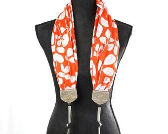 organic luxury batiste cotton scarf camera strap - sweet clementine - BCSCS093