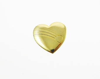 Rainbow Heart Brooch - Vintage Gold Heart Brooch