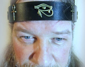 Eye of Horus, Mens Egyptian Headpiece, Leather Headband, Ritual, Silver or Bronze Ankhs