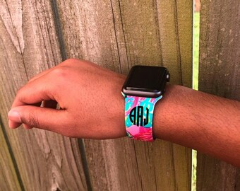 Monogrammed Lilly Patterned Apple Watch Band
