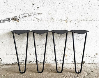 Set of 4 Black Powder Coated Hairpin Legs | 6'' 8'' 10'' 12'' 14'' 16'' 18'' 20'' 27'' 28'' 29'' | Bench Table Legs