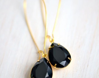 Jet Black Long Dangle Earrings, Old Hollywood Jewelry, Bridal Jewelry, Gold Earrings, Retro Jewelry Vintage Style Jewelry, Sparkly Earrings