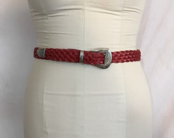 Vintage 1990's Red Leather Woven Belt