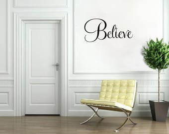 Christian Decor Believe with Cross Vinyl Word Art Religious Wall Decal Religious Art Religious Wall Decal Religious Wall Decor