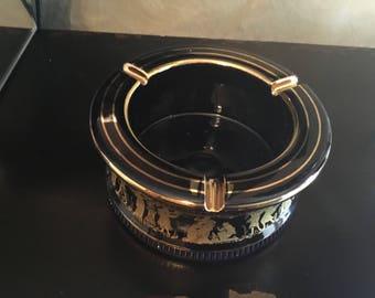 Greek 14k gold trimmed ventage ashtray - dark Navy Blue