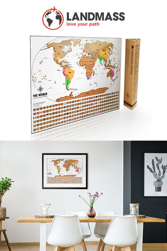 Scratch off world map travel tracker map original map like this item gumiabroncs Choice Image