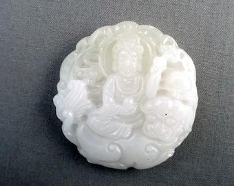 Jade Pendant Bead Carved Round Front Drilled White Destash #18-021